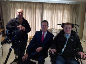 BBC Points West reporter Steve Knibbs next to Rob along with cameraman both of whom were inspired by Rob